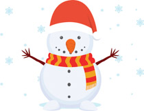 Snowman wearing xmas hat christmas clipart