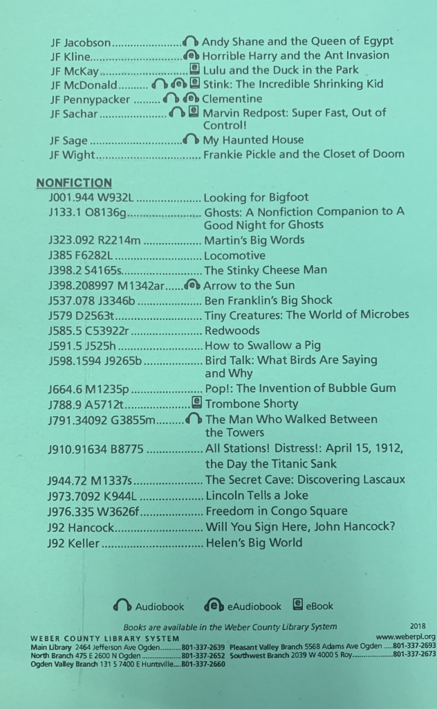 3rd Grade Reading List-Continued
