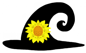curly witch hat with flower